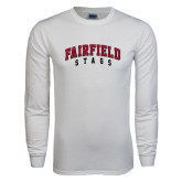 White Long Sleeve T Shirt-Fairfield Stags Stacked