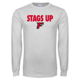 White Long Sleeve T Shirt-Stags Up