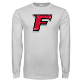 White Long Sleeve T Shirt-F Distressed