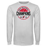 White Long Sleeve T Shirt-2019 Volleyball Champions