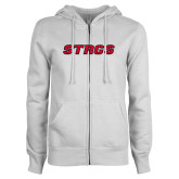 ENZA Ladies White Fleece Full Zip Hoodie-Stags