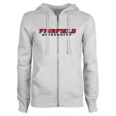ENZA Ladies White Fleece Full Zip Hoodie-Fairfield University Stacked