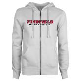 ENZA Ladies White Fleece Full Zip Hoodie-Fairfield University Stacked