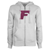 ENZA Ladies White Fleece Full Zip Hoodie-Official Logo Pink Glitter