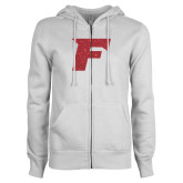 ENZA Ladies White Fleece Full Zip Hoodie-Official Logo Red Glitter