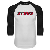 White/Black Raglan Baseball T-Shirt-Stags