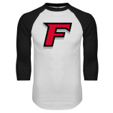 White/Black Raglan Baseball T-Shirt-F