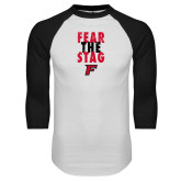 White/Black Raglan Baseball T-Shirt-Fear the Stag Distressed