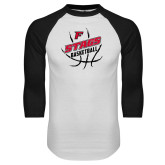 White/Black Raglan Baseball T-Shirt-Basketball Angled in Ball
