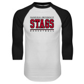 White/Black Raglan Baseball T-Shirt-Basketball Stacked