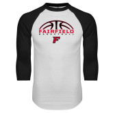White/Black Raglan Baseball T-Shirt-Basketball Half Ball