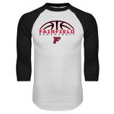 White/Black Raglan Baseball T-Shirt-Basketball Half Ball
