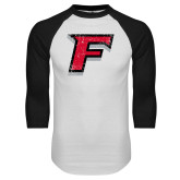 White/Black Raglan Baseball T-Shirt-F Distressed