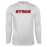 Performance White Longsleeve Shirt-Stags
