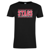 Ladies Black T Shirt-Basketball Stacked