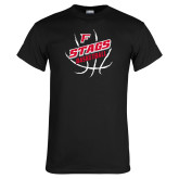Black T Shirt-Basketball Angled in Ball