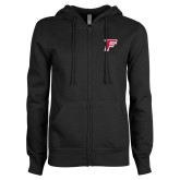 ENZA Ladies Black Fleece Full Zip Hoodie-F