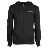ENZA Ladies Black Fleece Full Zip Hoodie-Stags
