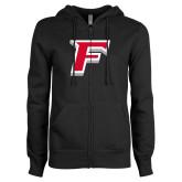 ENZA Ladies Black Fleece Full Zip Hoodie-F