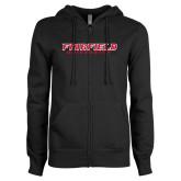 ENZA Ladies Black Fleece Full Zip Hoodie-Fairfield University Stacked
