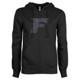 ENZA Ladies Black Fleece Full Zip Hoodie-F Graphite Glitter