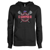 ENZA Ladies Black Fleece Full Zip Hoodie-MAAC 2018 Womens Lacrosse Champions
