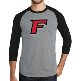 Grey/Black Tri Blend Baseball Raglan-F