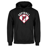 Black Fleece Hoodie-Softball Diamonds with Seams