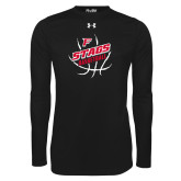 Under Armour Black Long Sleeve Tech Tee-Basketball Angled in Ball