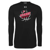 Under Armour Black Long Sleeve Tech Tee-Basketball Angled in Ball
