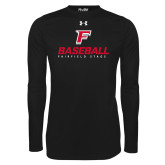 Under Armour Black Long Sleeve Tech Tee-Baseball Type with Icon