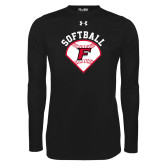 Under Armour Black Long Sleeve Tech Tee-Softball Diamonds with Seams