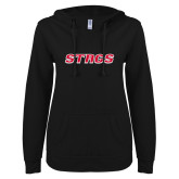 ENZA Ladies Black V Notch Raw Edge Fleece Hoodie-Stags