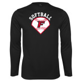 Performance Black Longsleeve Shirt-Softball Diamonds with Seams