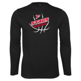 Performance Black Longsleeve Shirt-Basketball Angled in Ball