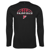 Performance Black Longsleeve Shirt-Basketball Half Ball