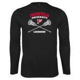 Performance Black Longsleeve Shirt-Lacrosse Arched Cross Sticks