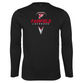Performance Black Longsleeve Shirt-Lacrosse Geometric Head