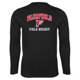 Performance Black Longsleeve Shirt-Field Hockey Arched