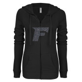 ENZA Ladies Black Light Weight Fleece Full Zip Hoodie-F Graphite Glitter