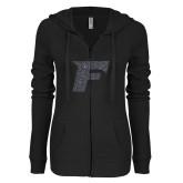 ENZA Ladies Black Light Weight Fleece Full Zip Hoodie-F Graphite Glitter