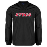 V Neck Black Raglan Windshirt-Stags