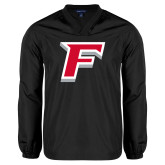 V Neck Black Raglan Windshirt-F
