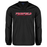 V Neck Black Raglan Windshirt-Fairfield University Stacked