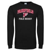 Black Long Sleeve TShirt-Field Hockey Arched