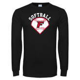 Black Long Sleeve TShirt-Softball Diamonds with Seams