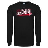 Black Long Sleeve T Shirt-2017 Volleyball Champions