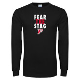 Black Long Sleeve TShirt-Fear the Stag Distressed