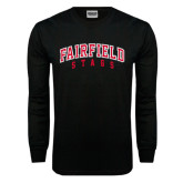Black Long Sleeve TShirt-Fairfield Stags Stacked