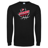 Black Long Sleeve TShirt-Basketball Angled in Ball